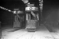Chatham. Two Trams in Depot. Unidentified.
